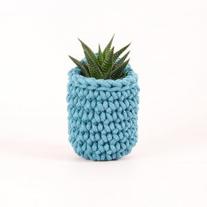 Easy Peasy Crochet Pot Teal